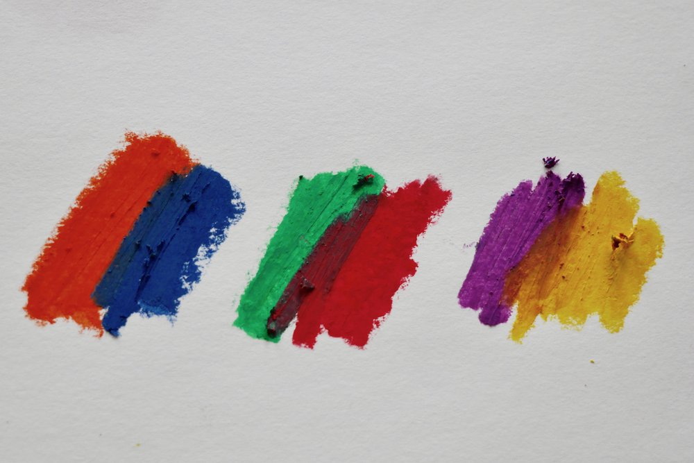Left to right: Complementary colors - orange and blue; green and red; purple and yellow