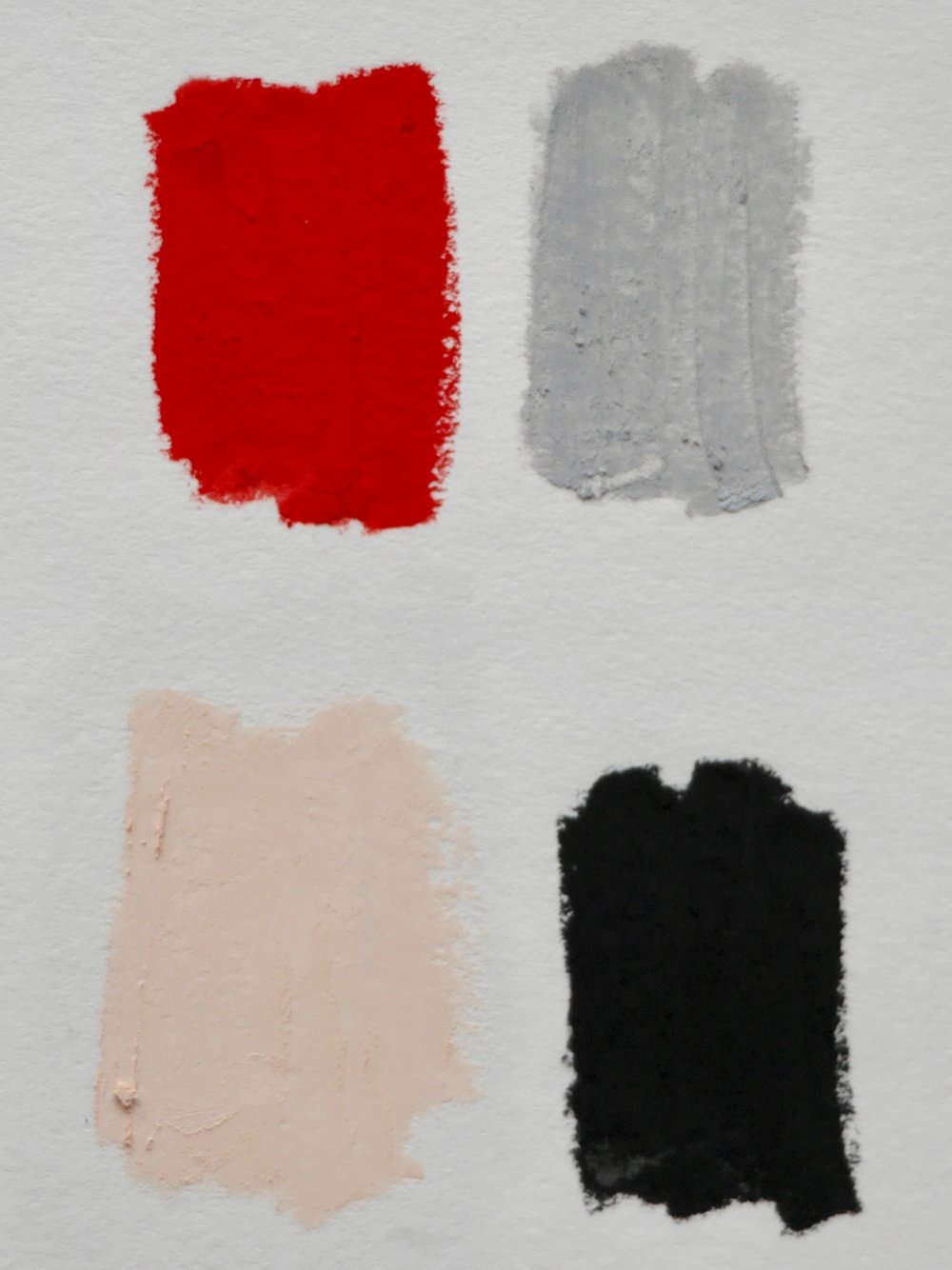Above: A bold red color and 3 neutral colors. The neutral colors are mixed in brightness.