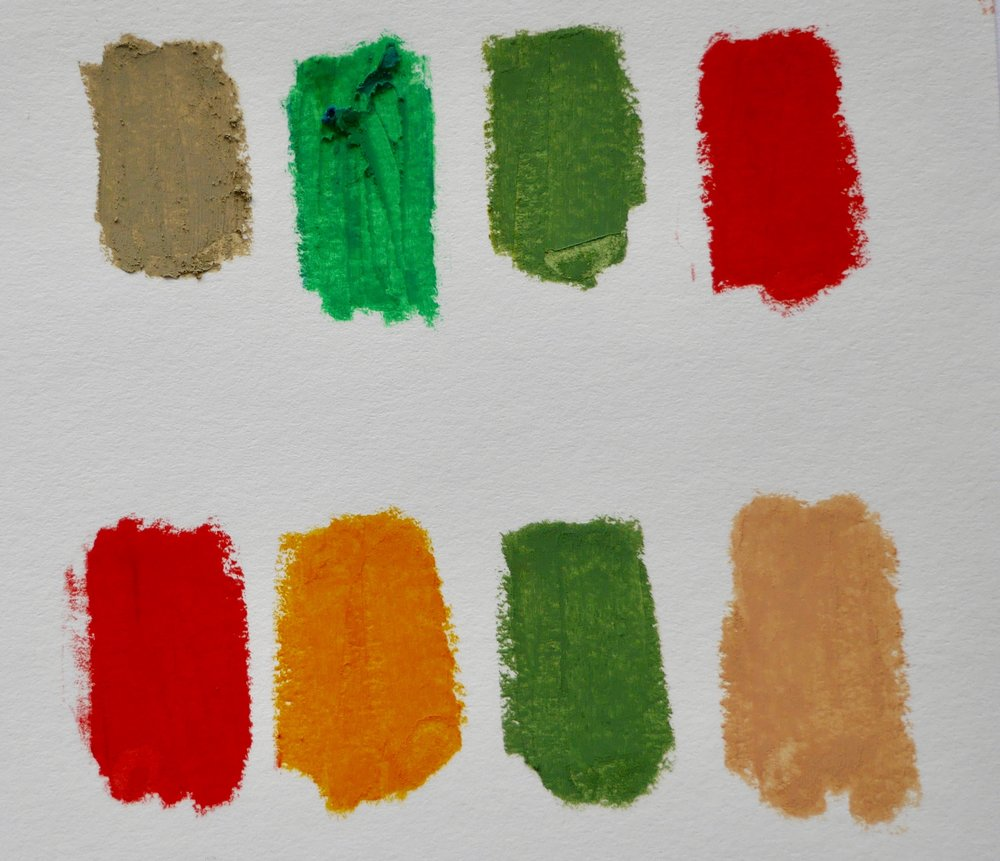 Both rows have the same complementary colors ( red and green) but different neutral colors. The second row also includes an red-orange color.