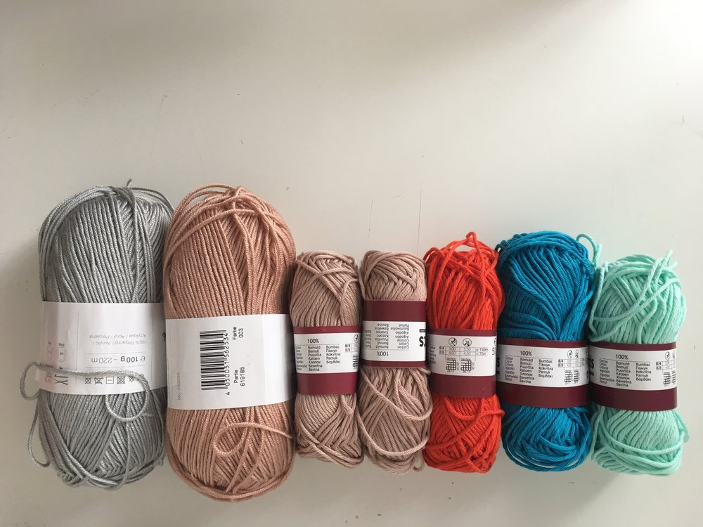 Above: Yarn divided by medium thickness.
