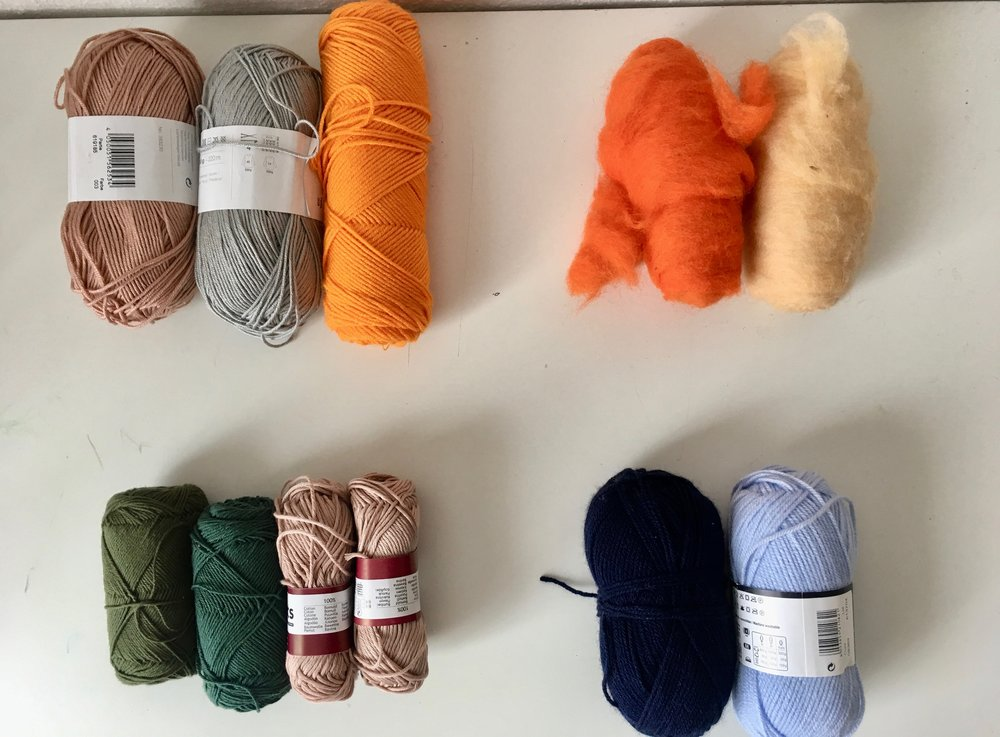 Above: Yarns divided by fiber. (Clockwise order) Acrylic blend, roving, acrylic, and cotton.