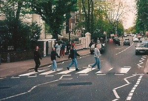On THE Abbey Road back in 1996.  From l-r: Kurstin, Jen (without shoes like Paul!), me and Sarah