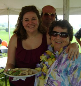 With Aunt Janet (that's Birthday Boy/Elvis impersonator Pat behind us) and my plate of turkey