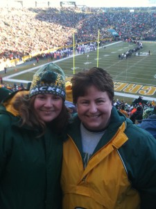Cheering on the Pack at Lambeau Field with my sister in December!