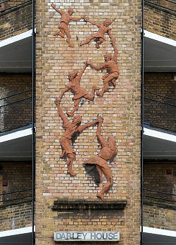 Peter Laszlo Peri, Following the Leader (Memorial to the Children killed in the Blitz) 1949, Darley House, Vauxhall Gardens Estate, Laud Street, London SE11. Listed Grade II.