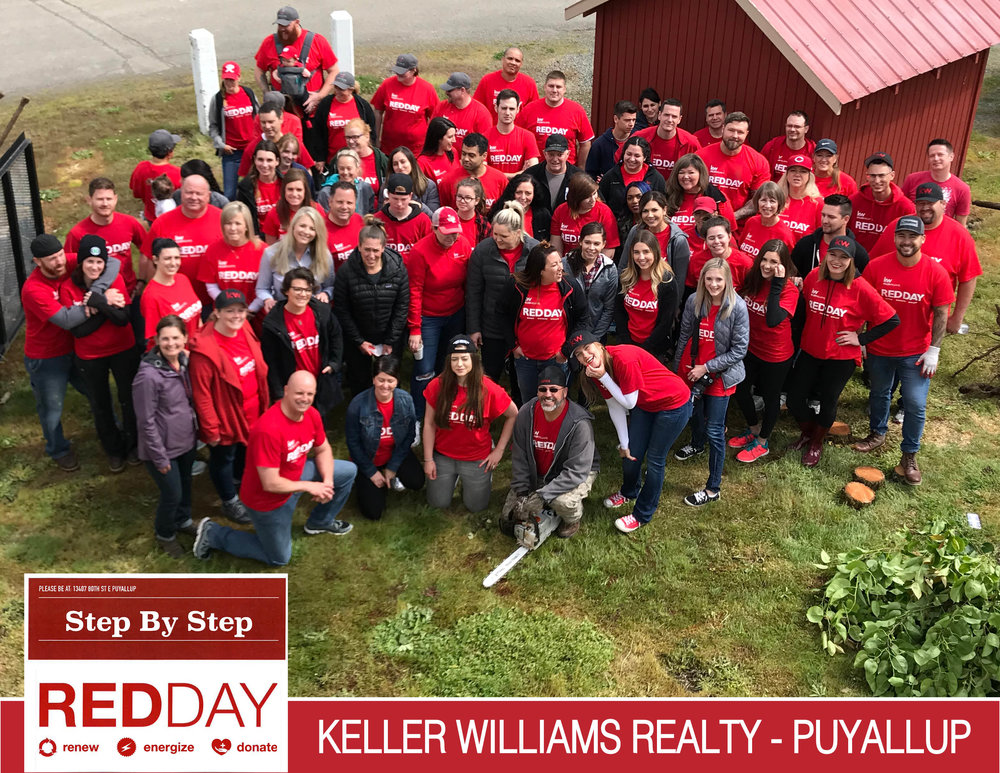 """May - KELLER WILLIAMS RED DAYOn May 10th, the Keller Williams Realty Puyallup team arrived at Step By Step in force, as a small army of over 60 red-shirted volunteers!They descended on our site and made quick work of a long """"to-do"""" list, everything from landscape work, painting, assembling newsletters and brochures, tearing down a retired play set, removing some diseased trees, cleaning and sweeping in our onsite greenhouse, donating and tying up stacks of diapers, and lots more!This crew of realtors and office staff were crazy hard workers and an absolute joy to be around. We love their """" Give Where You Live"""" motto! Thank you so much for all your hard work!"""