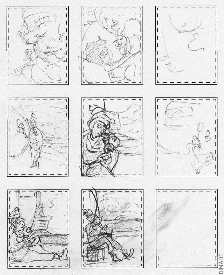 A whole bunch of thumbnails for the final full page illustration. You can see that none of these ideas made the cut in the progress video below.