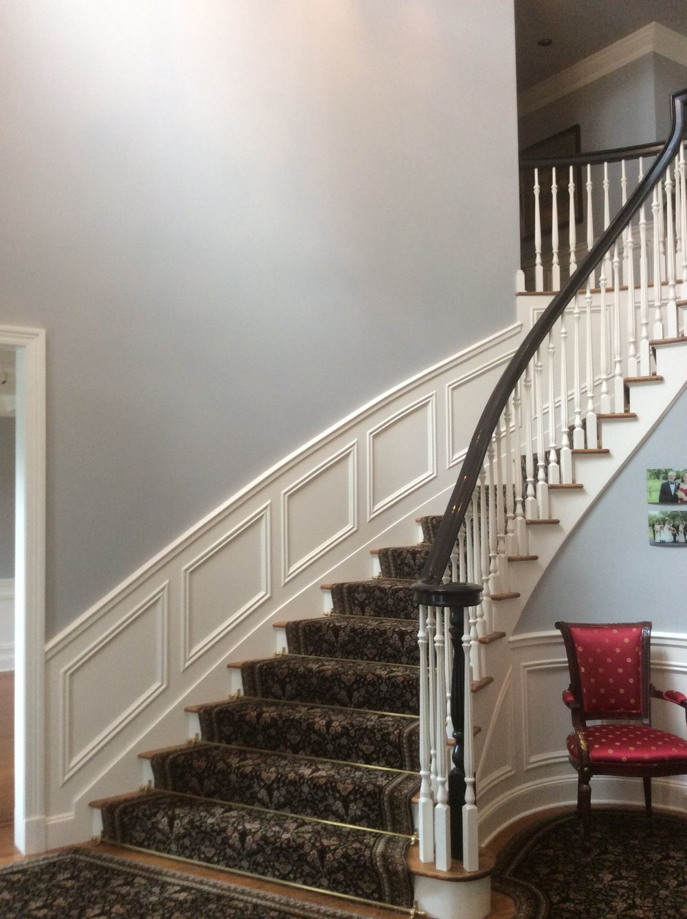 Custom Staircase, Crown Molding.