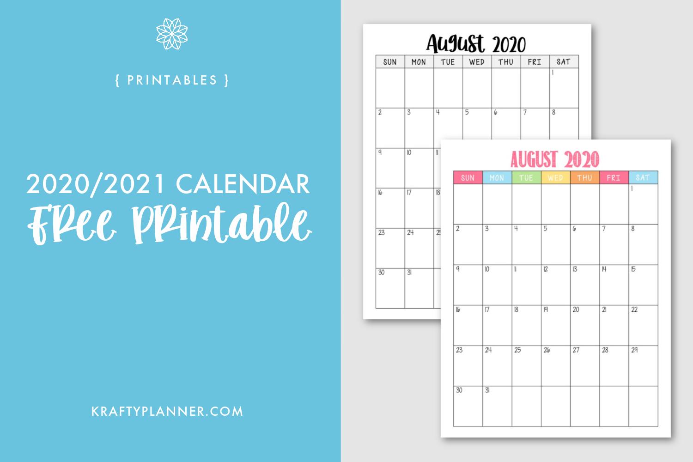 free printable 2020 2021 calendar krafty planner krafty planner