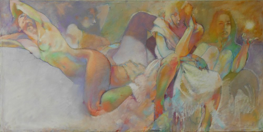 Past 6. The Women w All Charm_Oil Pastel on Canvas_36x72_2006.JPG