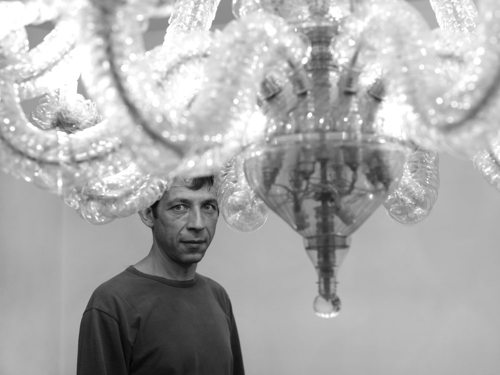 Thierry Jeannot and his 'Transmutation 1 chandelier', 2011. Photo credit: Felix Friedmann Fotography
