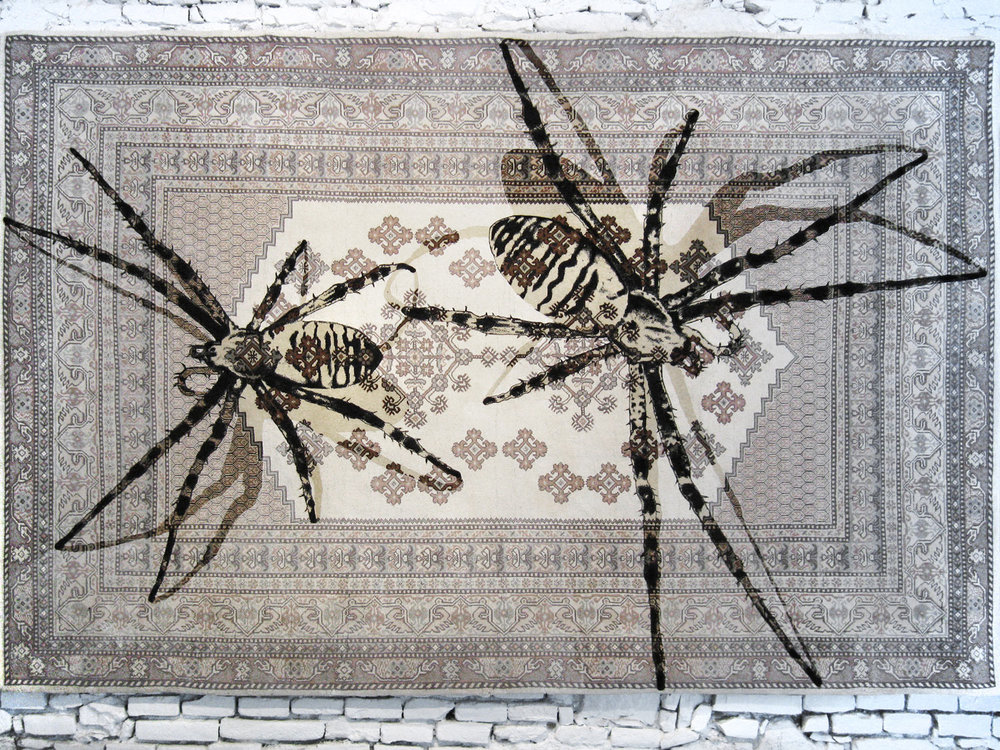 web222-noemi_kiss_prod_kissthereichl_two_spiders_tapestry-overpainted-preloved-oriental-rug-marion-friedmann-gallery.jpg