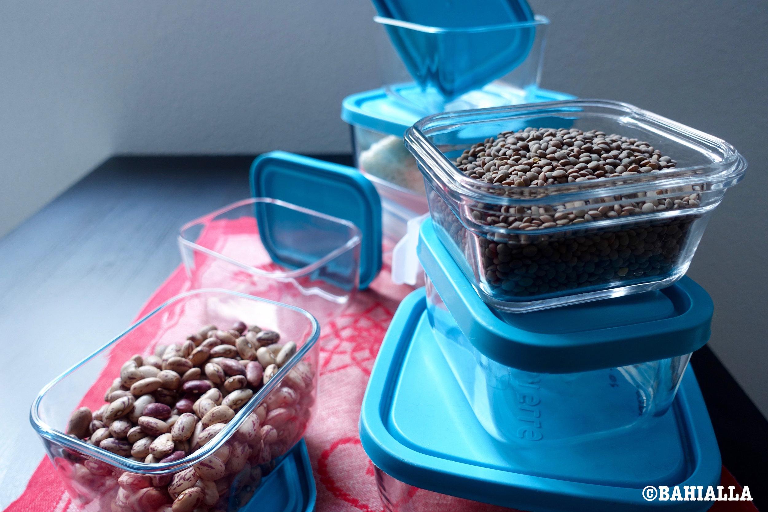 beans glass tupperware