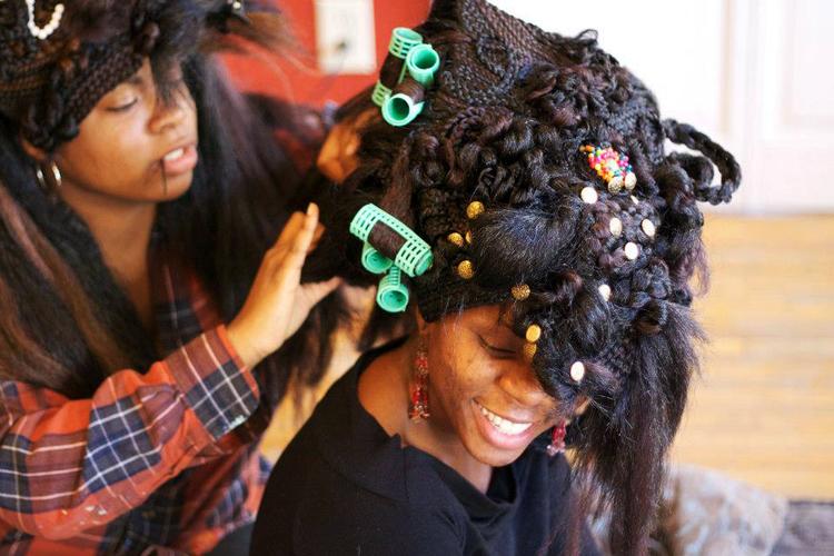 Hair Dress  2013, Cotton & synthetic-hair, Photographer: Sylvia Abisaab
