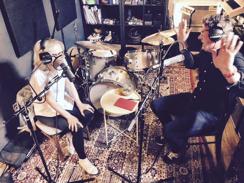 Brian Doak and Leah Payne in studio, recording the Weird Religion podcast;  www.weirdreligion.com