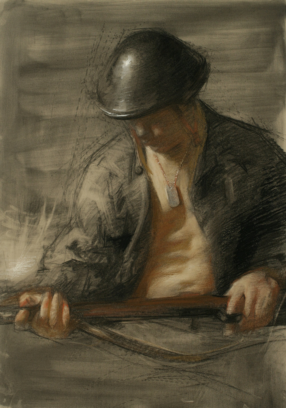Juliette Aristides_The Call_21.5x18_Charcoal with Sepia and White Chalk on Toned Paper__2011.jpg