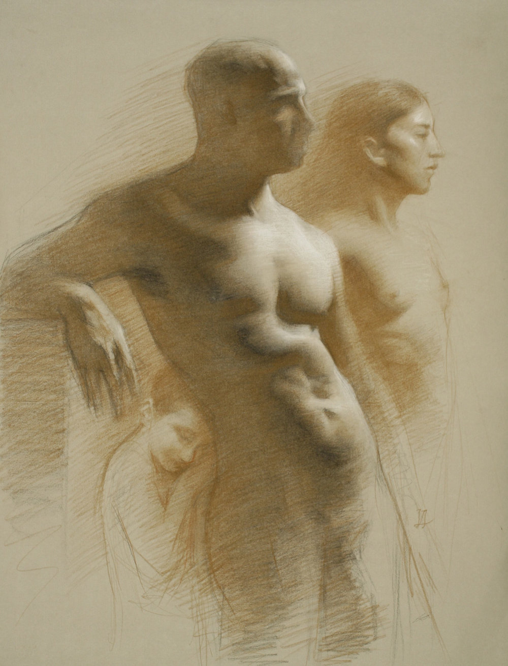 Juliette Aristides_Olympus_18x24_Charcoal and Sepia on Toned Paper heightened with White_2012.jpg