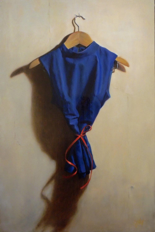 Grace Flott Blue shirt, red ribbon, oil on panel, 20x30 in, 2018.jpg