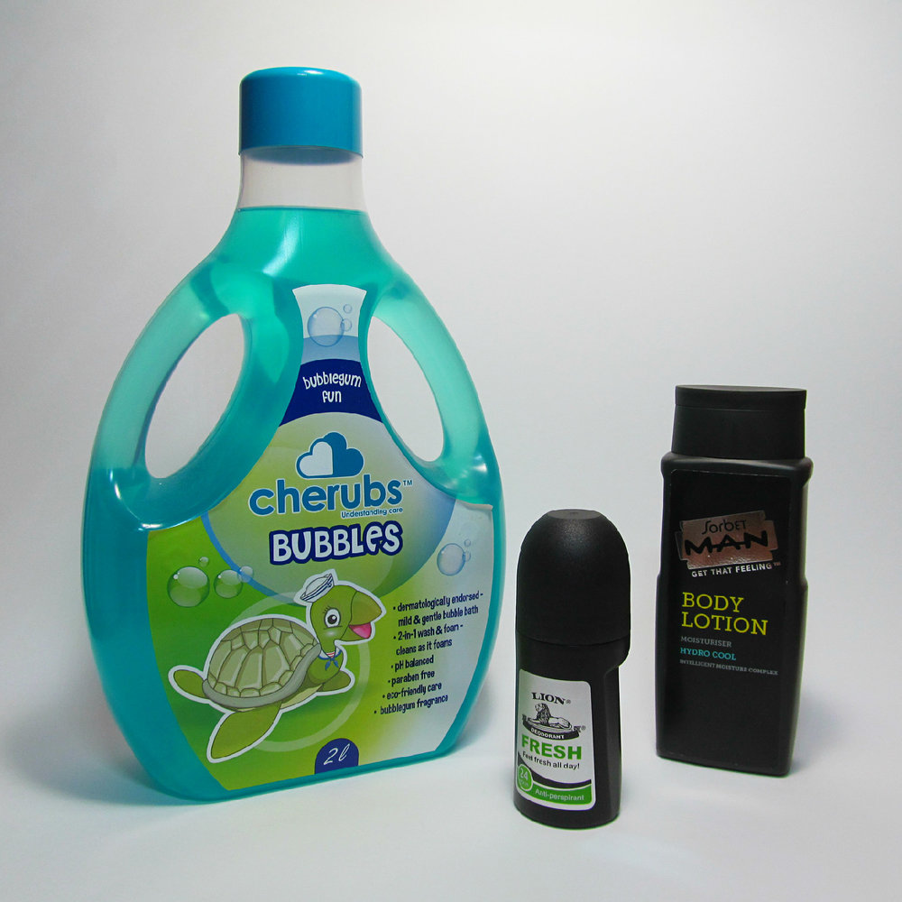 Brand Orientated Bottles - 2L Bubble Bath Bottle, Sorbet Lotion Bottle and Lion Roll-On