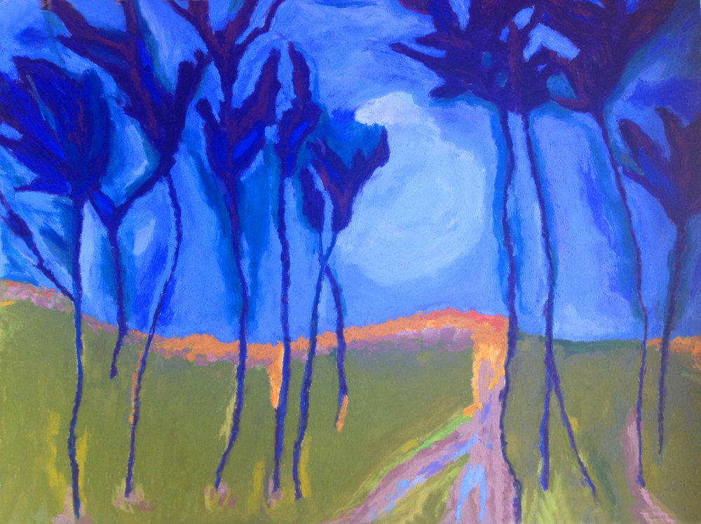 """Blue Trees with Moon, 18x 24"""", $600 Sold"""
