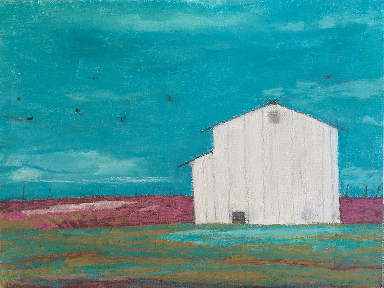 "White Barn, 10x7"" Pastel + Graphite on Wood, $275"