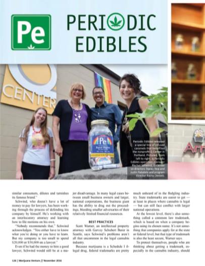 Periodic edibles is highlighted in  Marijuana Venture Magazine,  Nov. 2016