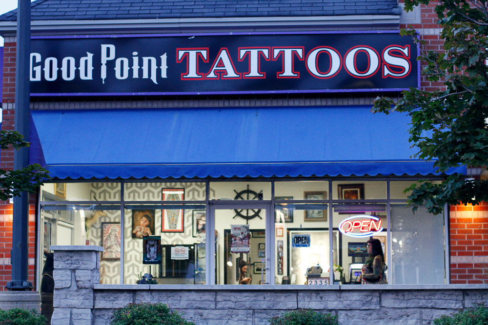 Good Point Tattoos - Good Point opened it's doors in 2009 and we have been specializing in custom tattoos ever since. Our artists can create a unique design for you in any style imaginable including geometry, dotwork, black and grey, script, neotraditional, realism, illustrative or anything you desire.If you'd like to book an appointment with Cory, please send us an email to tattoos@live.ca with a detailed description of what you're looking to get done, as well as reference images.