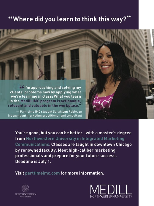 The Medill School's Ad in Newsweek featuring Sarahlynn Pablo