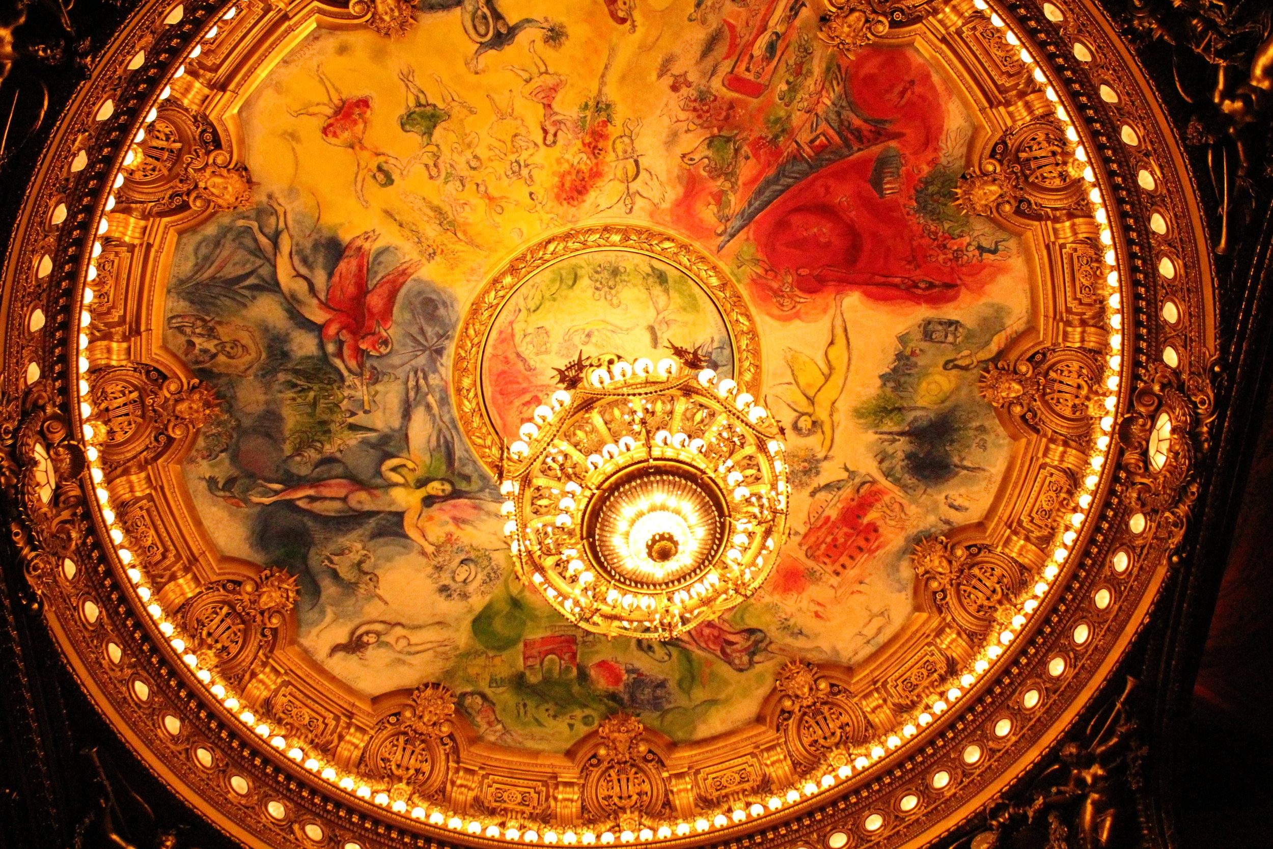 Marc Chagall's painted ceiling, chandelier, L'Opèra Paris. Chandelier weighs 8 tonnes.