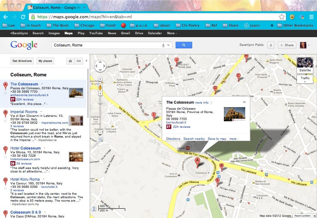 DIY Google travel map sample: The Colosseum, Rome.