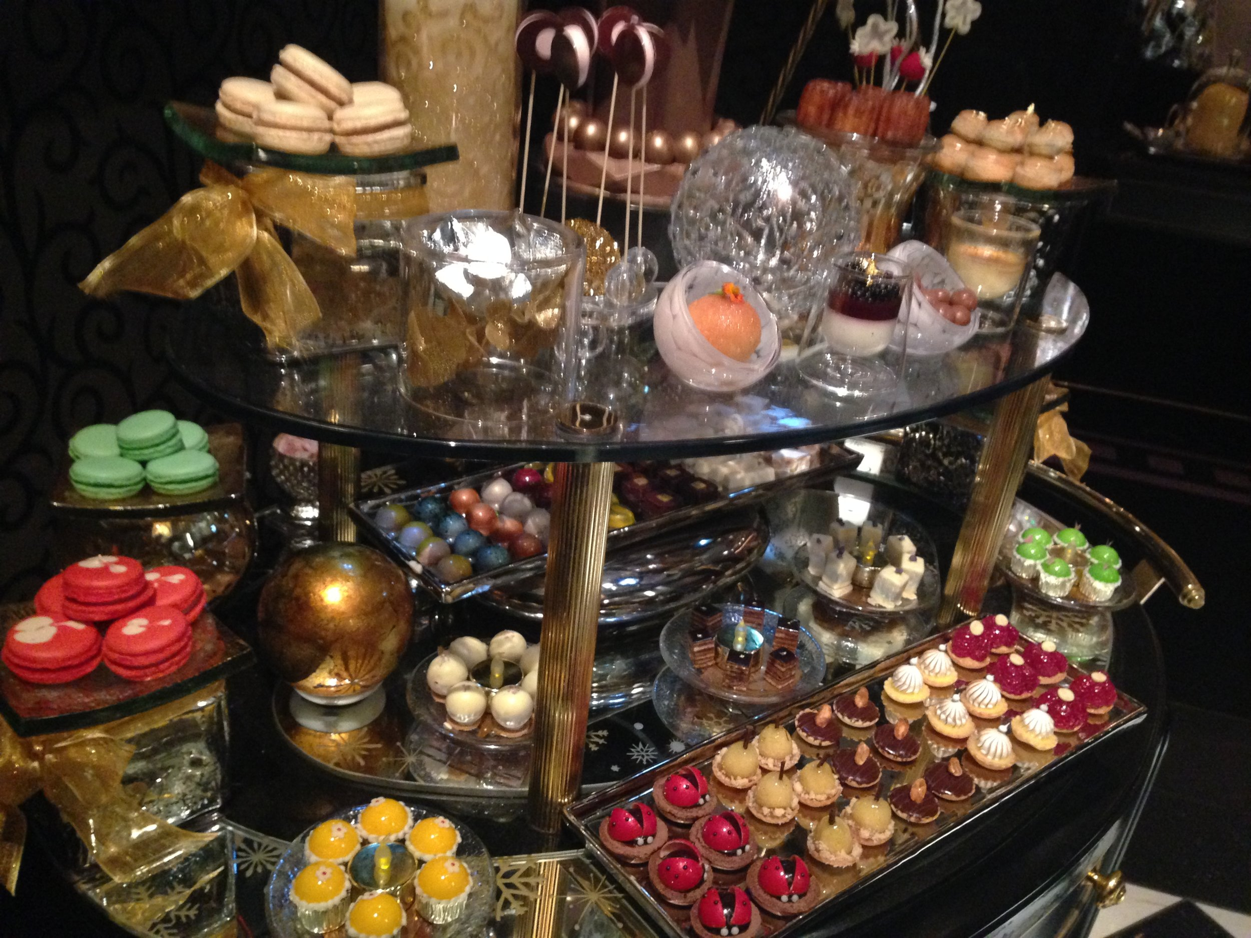 Dessert cart, Joel Robuchon. Photo by Rosemary Nickel, Motivating Other Moms.