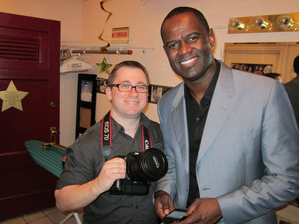 """Patrick R. Murphy with Brian McKnight backstage during Brian's """"Just Me"""" tour."""