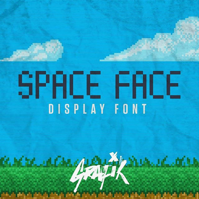 Space Face Display font. Inspired by pixel art, retro arcades, Kraftwerk and Space Invaders. Available in 2 styles from link in bio. — #grafiktype