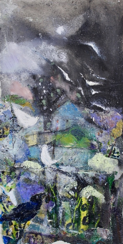 Gulls in the Helm 1, mixed on paper (glazed)