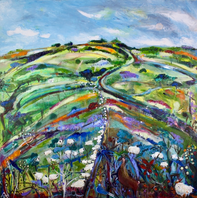 Sheep on the Ridge, acrylic on canvas, 80 x 80 cm