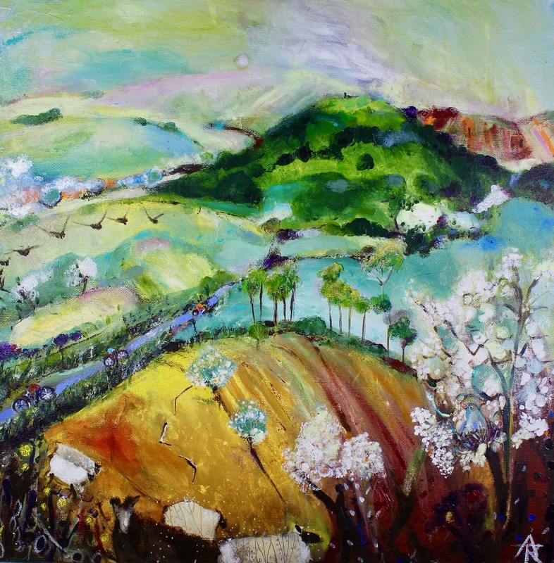 Spring Frolics, acrylic on canvas, 56 x 56 cm