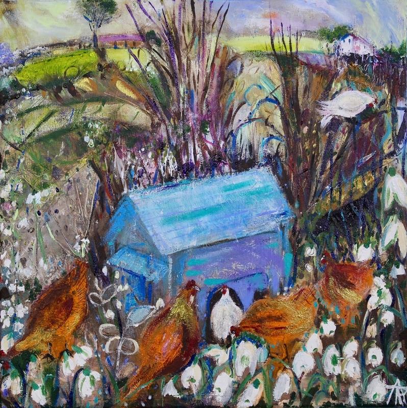 The Blue Hen House, acrylic on canvas, 44 x 44 cm