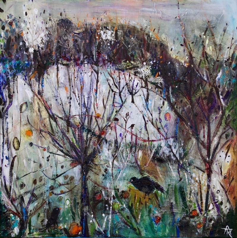 Blackbirds and Windfalls, acrylic on canvas, 44 x 44 cm