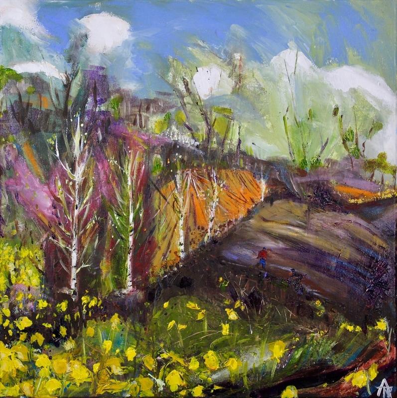 First Daffodils, acrylic on canvas, 44 x 44 cm