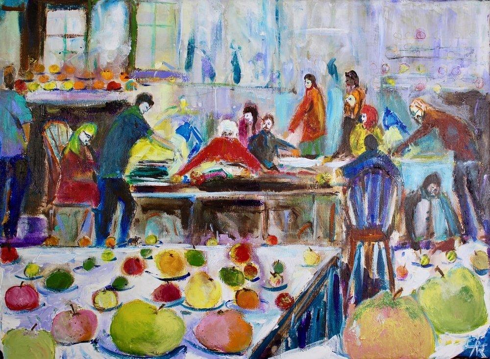 Apple Day, acrylic on canvas, 30 x 36 cm