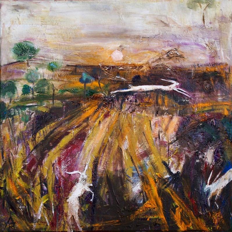 Three Hares in Corn Stubble Field, acrylic on canvas, 44 x 44 cm