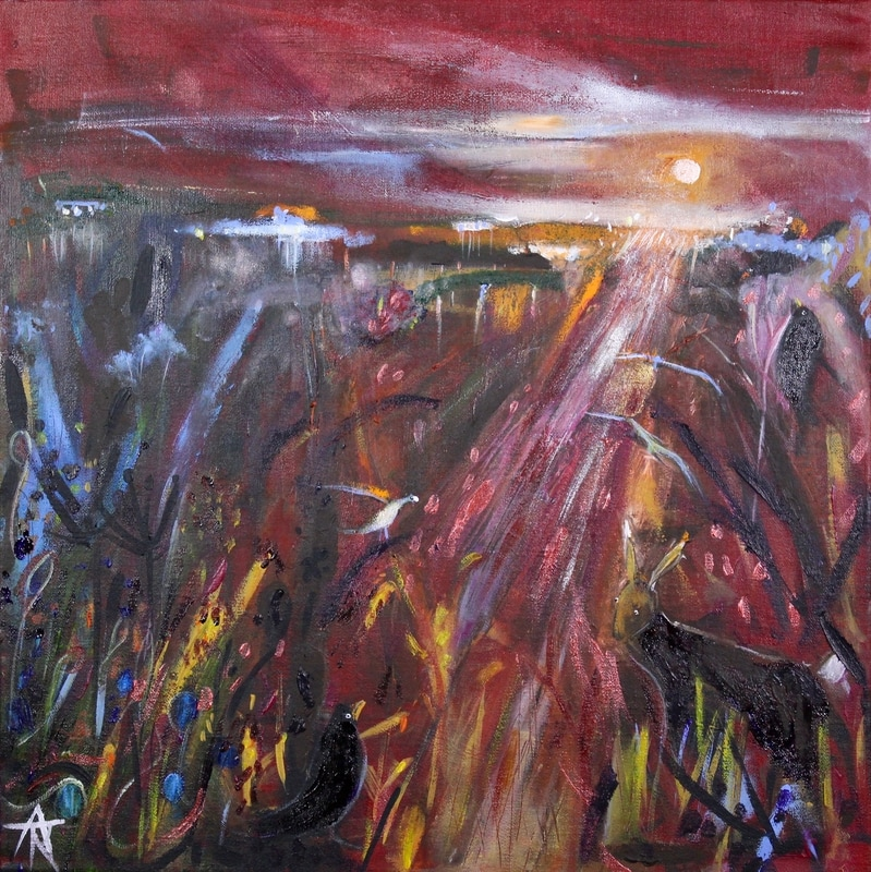 Last Dance of the Evening, acrylic on canvas, 44 x 44 cm