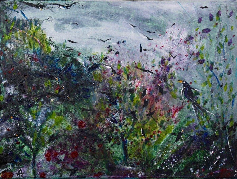 The Cherry Raiders, acrylic on canvas, 34 x 44 cm