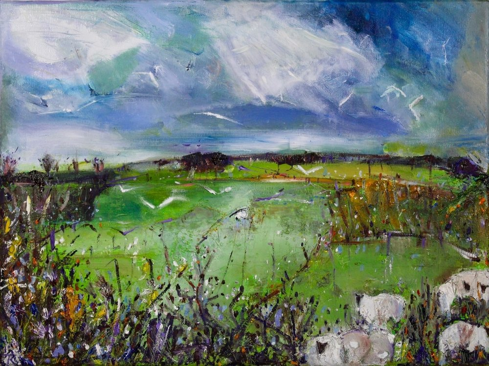 Sheep in Spring Fields, oil and mixed media on canvas, 34 x 44 cm
