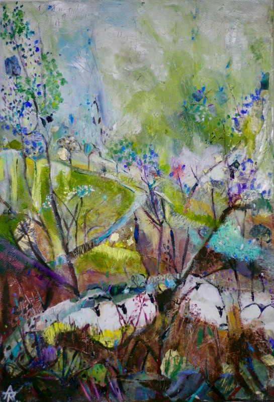 Sheltering by Stone Wall, acrylic on canvas