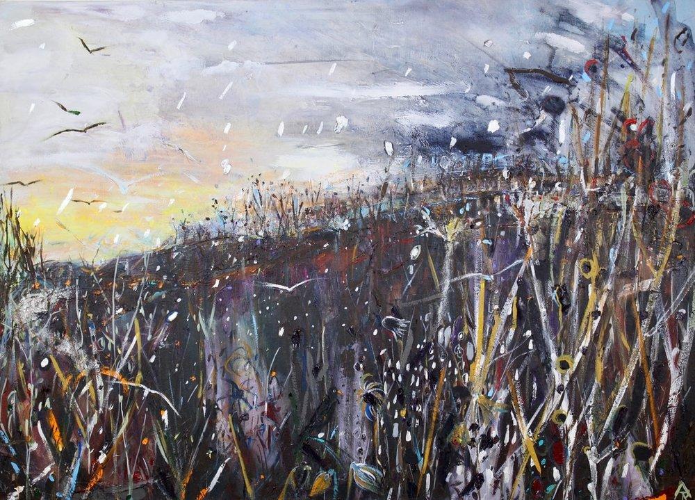 Snow Flurries, acrylic on canvas, 54 x 74 cm