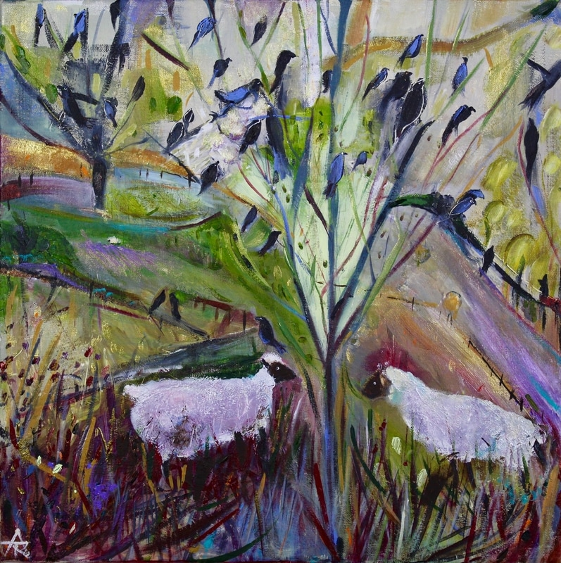 Two Lambs under Starling Tree, acrylic on canvas, 44 x 44 cm