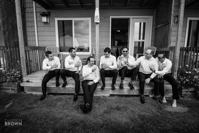 groomsmen drinking wedding photography
