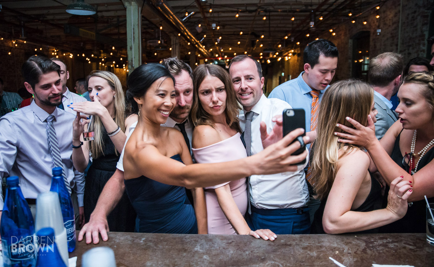 guests take selfie at ottawa wedding reception at zibi