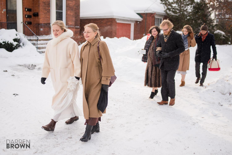 bride walking in winter wedding